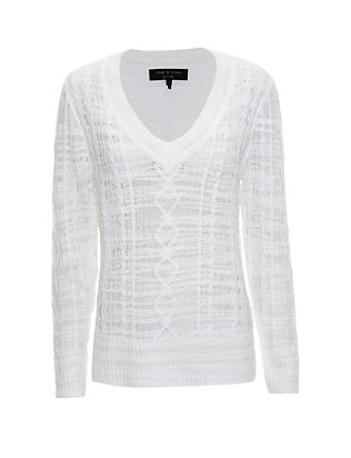 Rag & Bone Shana V Neck Crochet Sweater