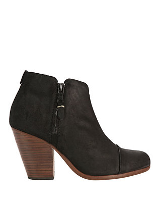 Margot Black Suede Double Zip Booties