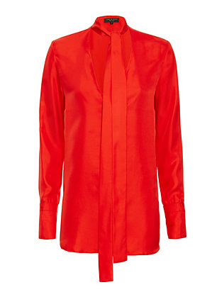 rag & bone Florence Tie Neck Blouse: Red