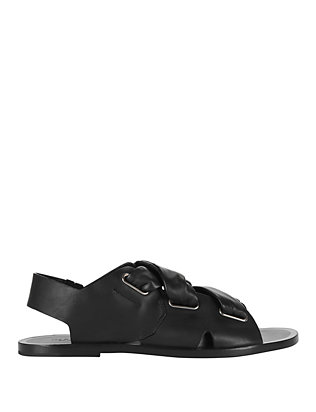 Rag & Bone Elda Cross Strap Leather Flat Sandal: Black