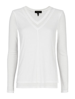 Rag & Bone Freya V-Neck Tee: White