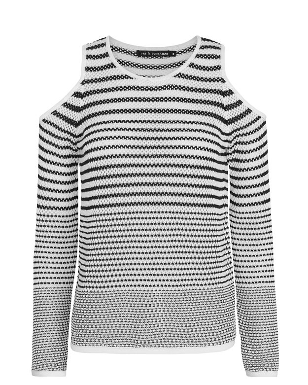 Rag & Bone/JEAN Brenna Cold Shoulder Striped Knit