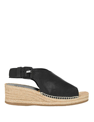 Sienna Covered Vamp Leather Slingback Espadrilles: Black