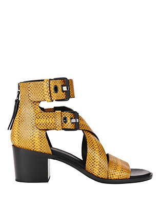 Rag & Bone Madrid Python Print Leather Stack Heel Sandal: Yellow