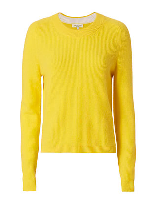 Rag & Bone Valentina Cashmere Crop Sweater: Yellow