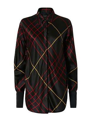 Edith Plaid Silk Blouse