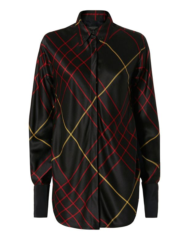 Rag & Bone Edith Plaid Silk Blouse