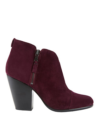 Margot Burgundy Suede Double Zip Booties
