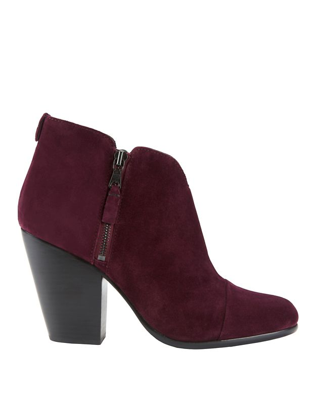 Rag & Bone Margot Burgundy Suede Double Zip Booties
