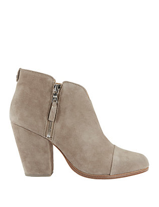 Margot Stone Suede Double Zip Booties