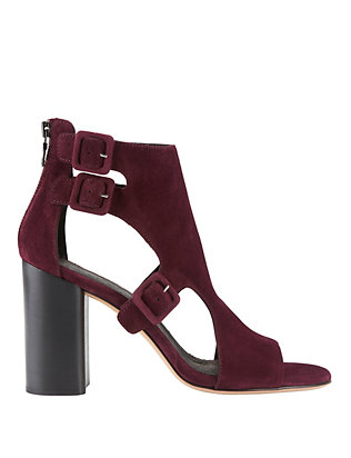 Genoa Block Heel Sandals: Burgundy