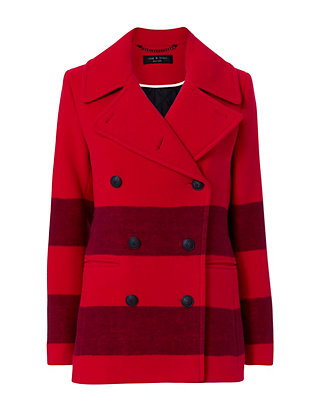 Rag & Bone Fiery Red Striped Peacoat