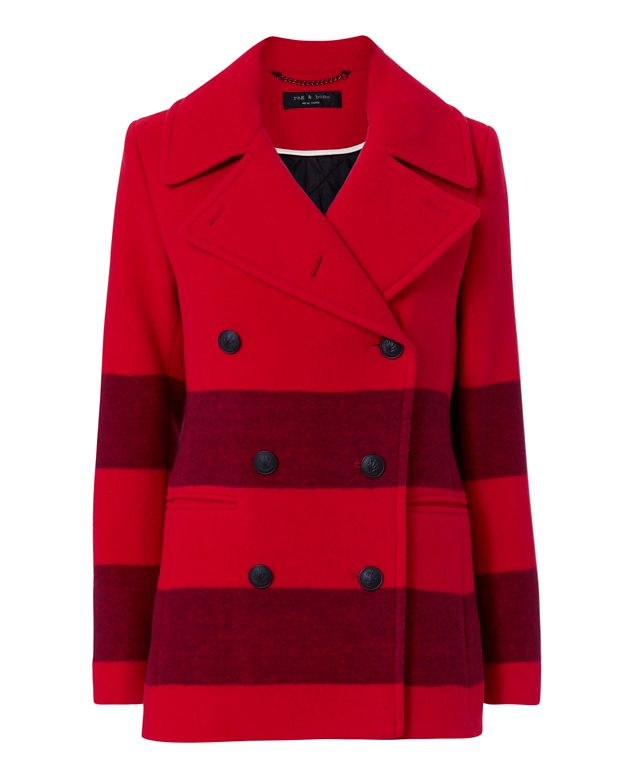 Rag & Bone Skye Stripe Pea Coat