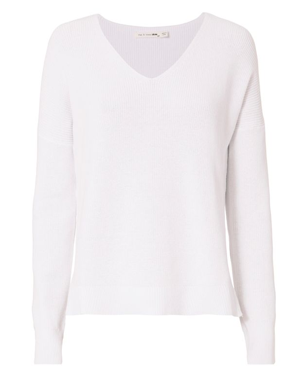Rag & Bone/JEAN Taylor White Washed V-Neck Knit