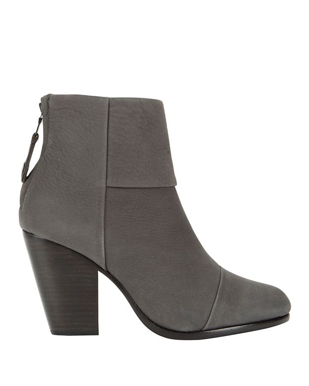 Rag & Bone Classic Newbury Charcoal Leather Booties