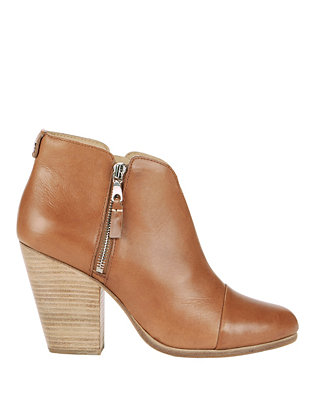 Margot Leather Double Zip Booties