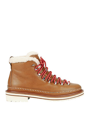 Compass Shearling Lamb Lace-Up Leather Booties