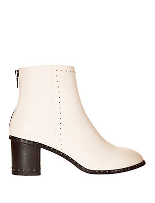 Willow Studded Ivory Leather Booties