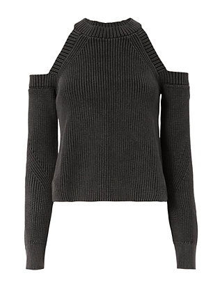 Rag & Bone Dana Cold Shoulder Black Sweater
