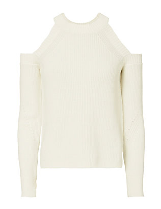 Rag & Bone Dana Cold Shoulder White Sweater