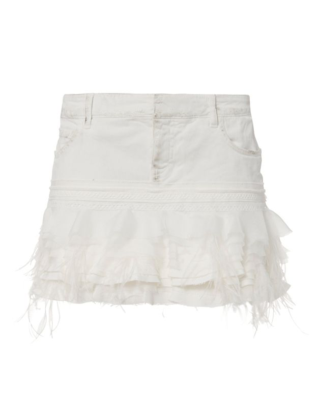 Faith Connexion Ruffle Feather Mini Skirt
