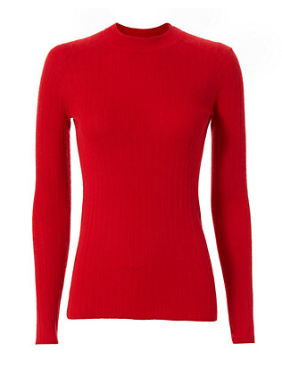Ribbed Cashmere Sweater: Red