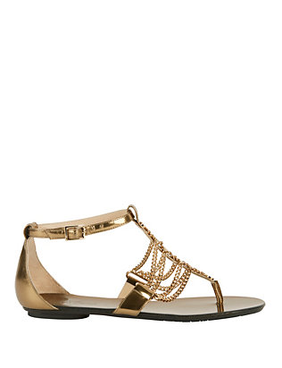 Wallace Chain Detail Metallic Leather Flat Sandals