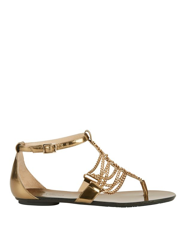 Jimmy Choo Wallace Chain Detail Metallic Leather Flat Sandals