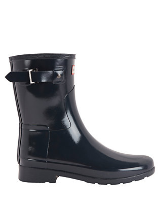 Hunter Refined Glossy Short Rain Boot: Navy