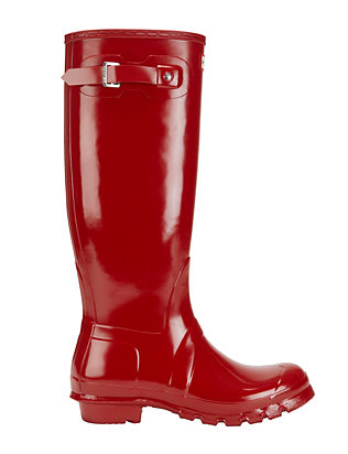 Hunter Iconic Original Tall Glossy Rain Boot: Red