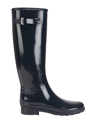 Hunter Refined Tall Glossy Rain Boot: Navy
