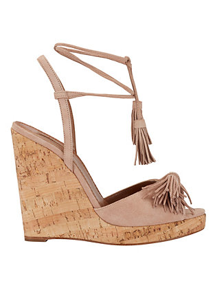 Aquazzura Wild One Fringe Toe Lace-Up Suede Wedge