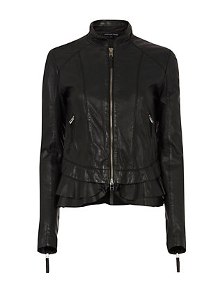 Harvey Ruffle Hem Leather Jacket