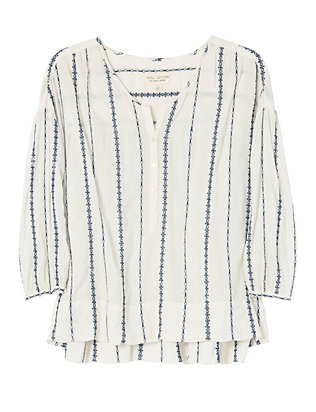 Nili Lotan Provence Embroidery Stripe Top