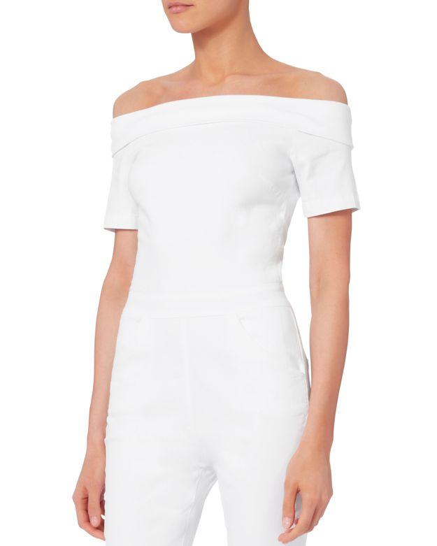 3X1 Off-The-Shoulder Denim Skinny-Leg Jumpsuit, Aspro, White