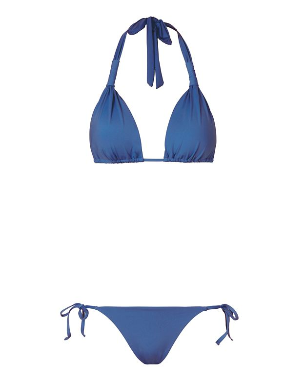 Onia Gathered Triangle String Tie Bikini: Periwinkle Blue