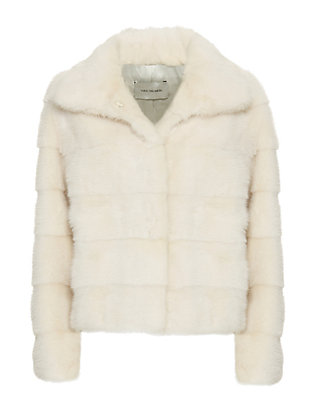 Yves Salomon Chaux Mink Fur High Collar Jacket: Ivory