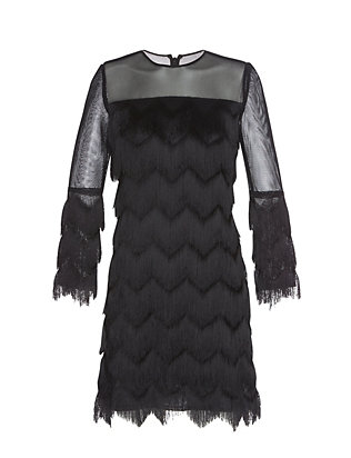 Alexis Xio Marra Fringe Mesh Detail Dress: Black