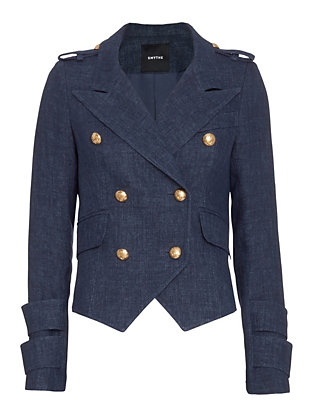 Smythe EXCLUSIVE Gold Button Detail Denim Blazer