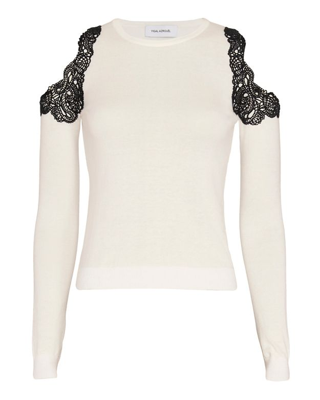 Yigal Azrouel EXCLUSIVE Lace Trim Cut Out Shoulder Knit