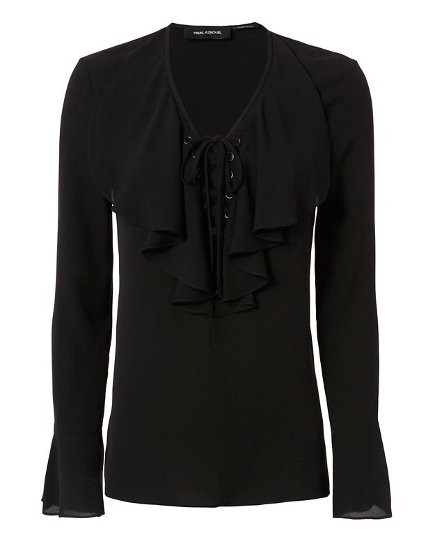 Yigal Azrouel Lace-Up Ruffle Blouse: Black