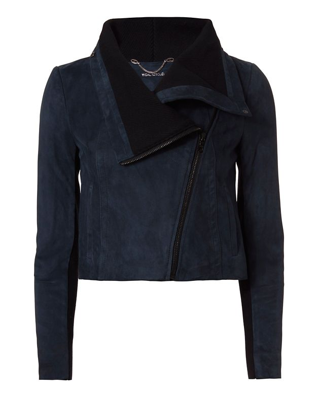 Yigal Azrouel Cropped Suede Jacket: Teal