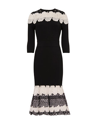 Yigal Azrouel Lace Combo Knit Dress