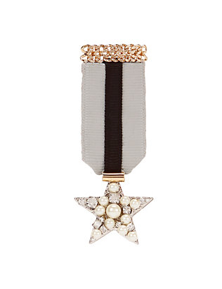 radà accessori Grey Ribbon and Pearl Star Brooch