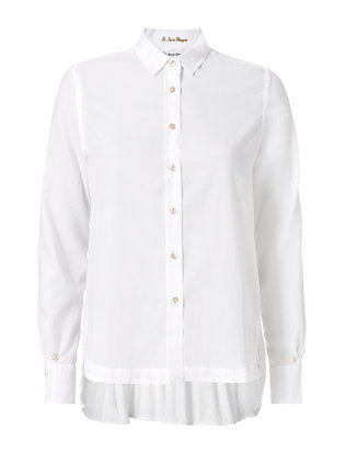 Pleated Back Shirt: White