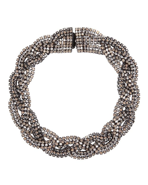 Elizabeth Cole Braided Crystal Necklace