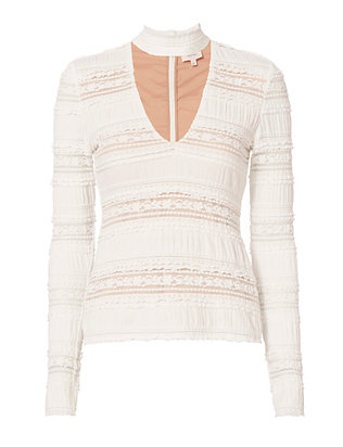 Cinq à Sept Cecily Lace Choker V-Neck Top
